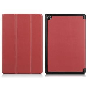 Сегментарный чехол книжка подставка на непрозрачной поликарбонатной основе для Huawei MediaPad M5 Lite  Коричневый