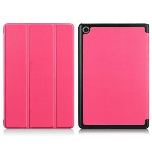 Сегментарный чехол книжка подставка на непрозрачной поликарбонатной основе для Huawei MediaPad M5 Lite  Розовый