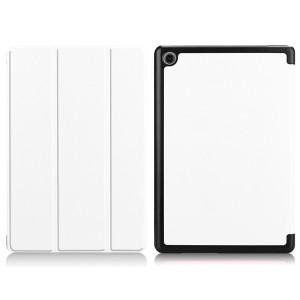 Сегментарный чехол книжка подставка на непрозрачной поликарбонатной основе для Huawei MediaPad M5 Lite  Белый