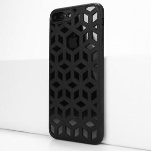 Двухкомпонентный силиконовый матовый непрозрачный чехол с поликарбонатной крышкой и текстурным покрытием Узоры для Iphone 7 Plus/8 Plus Черный