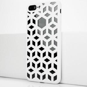 Двухкомпонентный силиконовый матовый непрозрачный чехол с поликарбонатной крышкой и текстурным покрытием Узоры для Iphone 7 Plus/8 Plus Белый