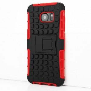 Противоударный двухкомпонентный силиконовый матовый непрозрачный чехол с поликарбонатными вставками экстрим защиты с встроенной ножкой-подставкой и текстурным покрытием Шина для Samsung Galaxy S7 Edge Красный