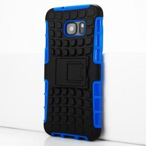 Противоударный двухкомпонентный силиконовый матовый непрозрачный чехол с поликарбонатными вставками экстрим защиты с встроенной ножкой-подставкой и текстурным покрытием Шина для Samsung Galaxy S7 Edge Синий