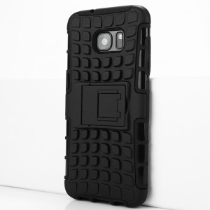 Противоударный двухкомпонентный силиконовый матовый непрозрачный чехол с поликарбонатными вставками экстрим защиты с встроенной ножкой-подставкой и текстурным покрытием Шина для Samsung Galaxy S7 Edge Черный
