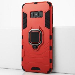 Двухкомпонентный силиконовый матовый непрозрачный чехол с поликарбонатными бампером и крышкой и встроенным кольцом-подставкой для Samsung Galaxy S8 Красный