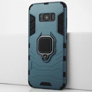 Двухкомпонентный силиконовый матовый непрозрачный чехол с поликарбонатными бампером и крышкой и встроенным кольцом-подставкой для Samsung Galaxy S8 Синий