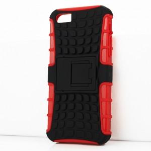 Противоударный двухкомпонентный силиконовый матовый непрозрачный чехол с поликарбонатными вставками экстрим защиты с встроенной ножкой-подставкой и текстурным покрытием Шина для Iphone SE/5/5S Красный