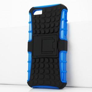 Противоударный двухкомпонентный силиконовый матовый непрозрачный чехол с поликарбонатными вставками экстрим защиты с встроенной ножкой-подставкой и текстурным покрытием Шина для Iphone SE/5/5S Синий