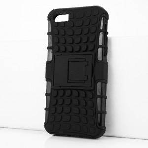 Противоударный двухкомпонентный силиконовый матовый непрозрачный чехол с поликарбонатными вставками экстрим защиты с встроенной ножкой-подставкой и текстурным покрытием Шина для Iphone SE/5/5S Черный