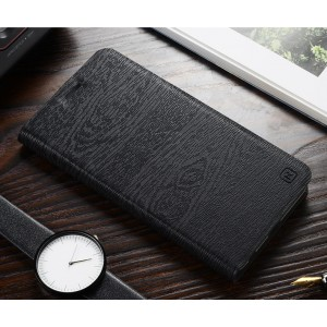 Чехол горизонтальная книжка подставка текстура Дерево на силиконовой основе с отсеком для карт для ASUS ZenFone 2 Laser 6 Черный