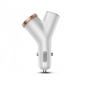 Автомобильное зарядное устройство Baseus Y-shape Dual USB Car Charger with Cigarette Extended Port Белый