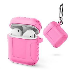 Водоотталкивающий силиконовый противоударный нескользящий софт-тач чехол на карабине для AirPods Розовый