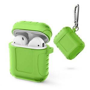 Водоотталкивающий силиконовый противоударный нескользящий софт-тач чехол на карабине для AirPods Зеленый