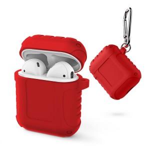 Водоотталкивающий силиконовый противоударный нескользящий софт-тач чехол на карабине для AirPods Красный