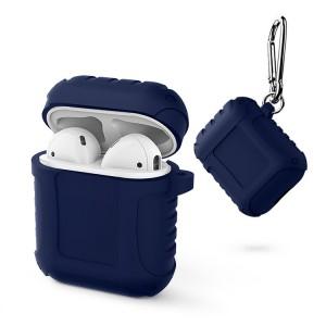 Водоотталкивающий силиконовый противоударный нескользящий софт-тач чехол на карабине для AirPods Синий