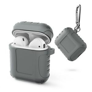 Водоотталкивающий силиконовый противоударный нескользящий софт-тач чехол на карабине для AirPods Серый