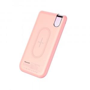 Внешний аккумулятор с функцией беспроводной зарядки Baseus Thin Version Wireless Charge 10000 mah Розовый