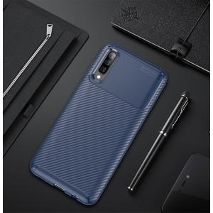 Силиконовый матовый непрозрачный чехол с текстурным покрытием Карбон для Samsung Galaxy A50 Синий