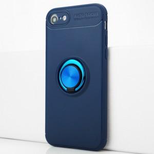 Силиконовый матовый непрозрачный чехол с встроенным кольцом-подставкой для Iphone 7/8 Синий