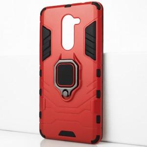 Двухкомпонентный силиконовый матовый непрозрачный чехол с поликарбонатными бампером и крышкой и встроенным кольцом-подставкой для Huawei Honor 6X Красный