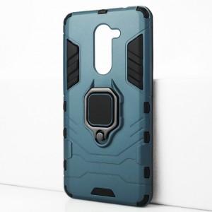 Двухкомпонентный силиконовый матовый непрозрачный чехол с поликарбонатными бампером и крышкой и встроенным кольцом-подставкой для Huawei Honor 6X Синий