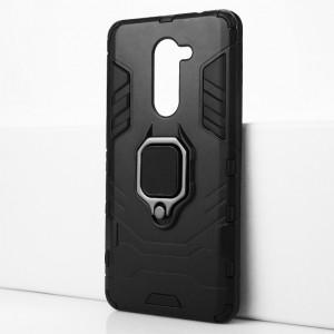 Двухкомпонентный силиконовый матовый непрозрачный чехол с поликарбонатными бампером и крышкой и встроенным кольцом-подставкой для Huawei Honor 6X Черный