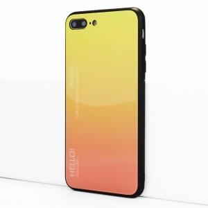 Силиконовый матовый непрозрачный чехол с co стеклянной градиентной накладкой для Iphone 7 Plus/8 Plus Желтый