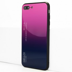 Силиконовый матовый непрозрачный чехол с co стеклянной градиентной накладкой для Iphone 7 Plus/8 Plus Фиолетовый