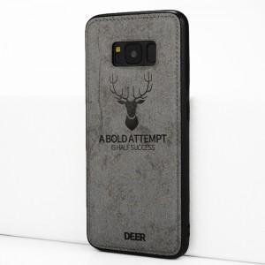 Силиконовый матовый непрозрачный чехол с объемно-рельефным принтом и текстурным покрытием Джинса для Samsung Galaxy S8 Серый