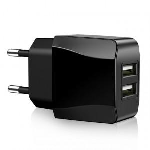 Универсальное сетевое зарядное устройство 220В 50-60Гц/USB 5В 2000мА с двумя USB портами Черный