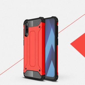 Противоударный двухкомпонентный силиконовый матовый непрозрачный чехол с поликарбонатными вставками экстрим защиты с текстурным покрытием Металлик для Samsung Galaxy A50 Красный