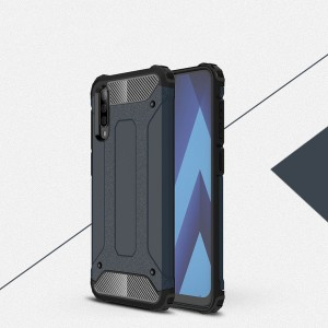 Противоударный двухкомпонентный силиконовый матовый непрозрачный чехол с поликарбонатными вставками экстрим защиты с текстурным покрытием Металлик для Samsung Galaxy A50 Синий