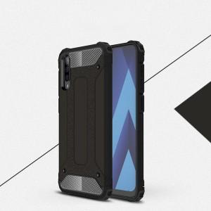 Противоударный двухкомпонентный силиконовый матовый непрозрачный чехол с поликарбонатными вставками экстрим защиты с текстурным покрытием Металлик для Samsung Galaxy A50 Черный