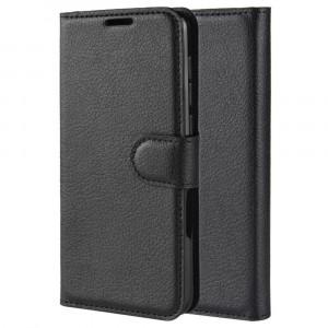 Чехол портмоне подставка на силиконовой основе с отсеком для карт на магнитной защелке для Samsung Galaxy A50  Черный