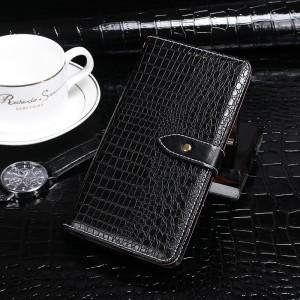 Чехол портмоне подставка текстура Крокодил на силиконовой основе с отсеком для карт на дизайнерской магнитной защелке для Samsung Galaxy A50  Черный