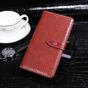Чехол портмоне подставка текстура Крокодил на силиконовой основе с отсеком для карт на дизайнерской магнитной защелке для Samsung Galaxy A50  Красный