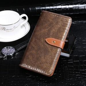 Чехол портмоне подставка текстура Крокодил на силиконовой основе с отсеком для карт на дизайнерской магнитной защелке для Samsung Galaxy A50  Коричневый
