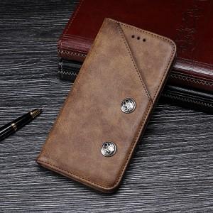 Чехол флип подставка на силиконовой основе с внешним и внутренним отсеком для карт для Samsung Galaxy A50  Коричневый