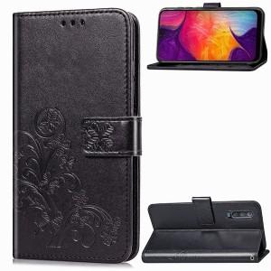 Чехол портмоне подставка текстура Узоры на силиконовой основе с отсеком для карт на дизайнерской магнитной защелке для Samsung Galaxy A50 Черный