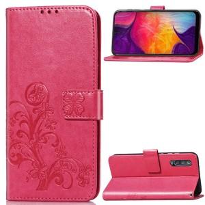 Чехол портмоне подставка текстура Узоры на силиконовой основе с отсеком для карт на дизайнерской магнитной защелке для Samsung Galaxy A50 Красный