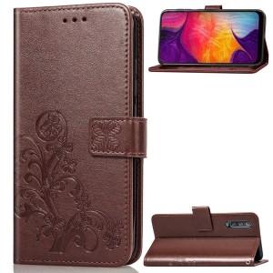 Чехол портмоне подставка текстура Узоры на силиконовой основе с отсеком для карт на дизайнерской магнитной защелке для Samsung Galaxy A50 Коричневый