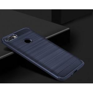 Силиконовый матовый непрозрачный чехол с текстурным покрытием Металлик для Iphone 7 Plus Синий