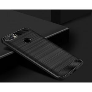 Силиконовый матовый непрозрачный чехол с текстурным покрытием Металлик для Iphone 7 Plus Черный