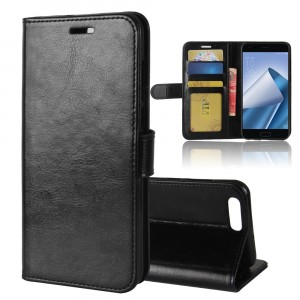 Глянцевый водоотталкивающий чехол портмоне подставка на силиконовой основе с отсеком для карт на магнитной защелке для ASUS ZenFone 4 ZE554KL Черный