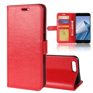 Глянцевый водоотталкивающий чехол портмоне подставка на силиконовой основе с отсеком для карт на магнитной защелке для ASUS ZenFone 4 ZE554KL Красный