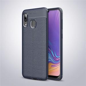 Силиконовый матовый непрозрачный чехол с текстурным покрытием Кожа для Samsung Galaxy A20/A30 Синий