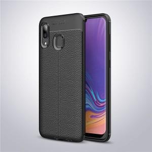 Силиконовый матовый непрозрачный чехол с текстурным покрытием Кожа для Samsung Galaxy A20/A30 Черный