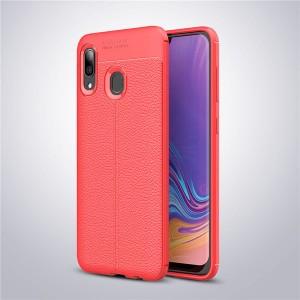 Силиконовый матовый непрозрачный чехол с текстурным покрытием Кожа для Samsung Galaxy A20/A30 Красный