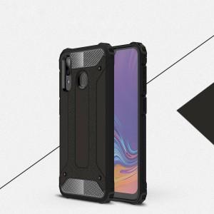 Противоударный двухкомпонентный силиконовый матовый непрозрачный чехол с поликарбонатными вставками экстрим защиты с текстурным покрытием Металлик для Samsung Galaxy A20/A30  Черный