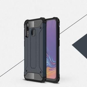 Противоударный двухкомпонентный силиконовый матовый непрозрачный чехол с поликарбонатными вставками экстрим защиты с текстурным покрытием Металлик для Samsung Galaxy A20/A30  Синий